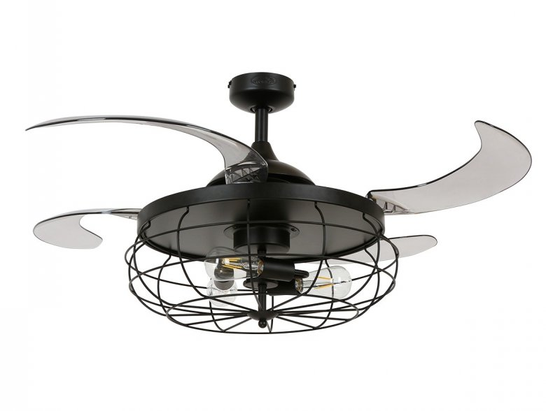 Fanaway Industri Ceiling Fan In Black With Smoke Coloured Retractable Blades And Light